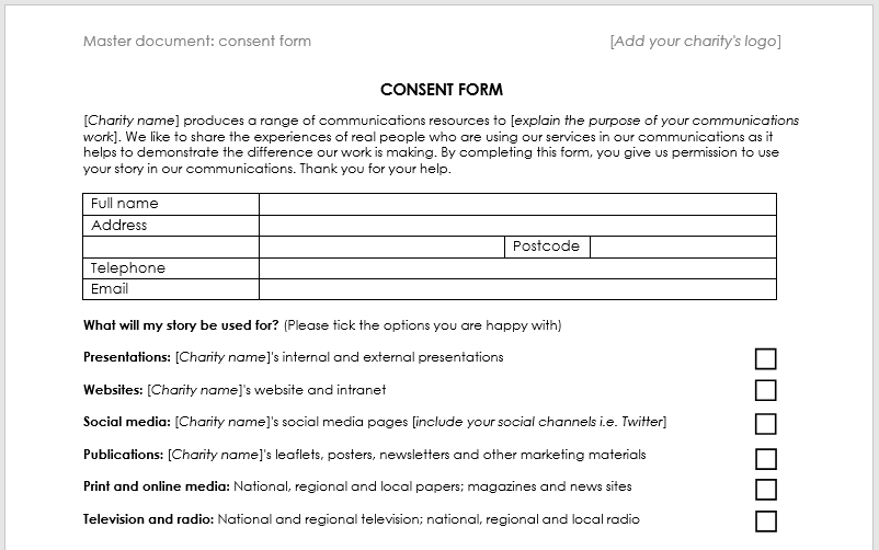 Case Study Consent Form Template Charitycomms