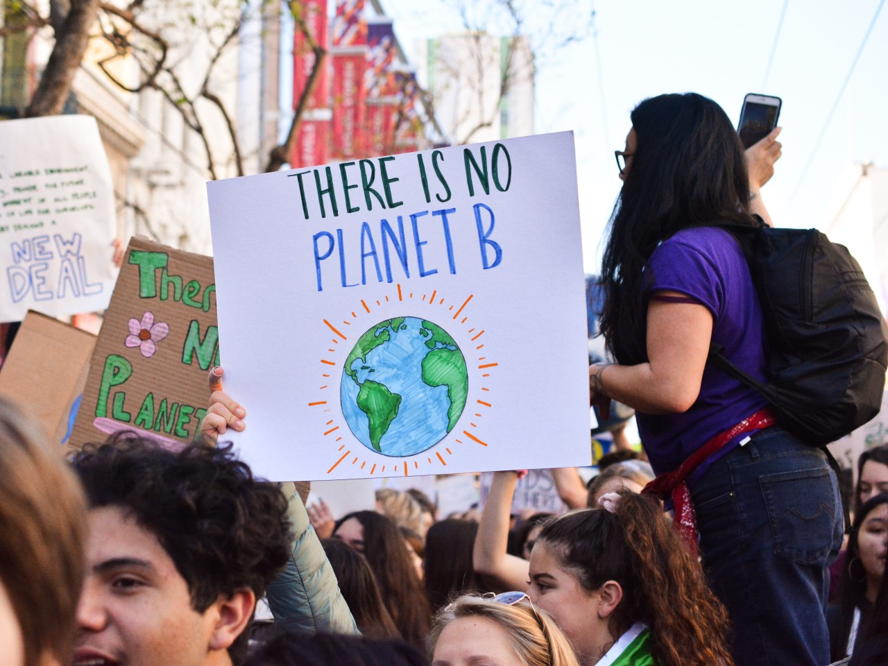 Protestors take part in a climate change march
