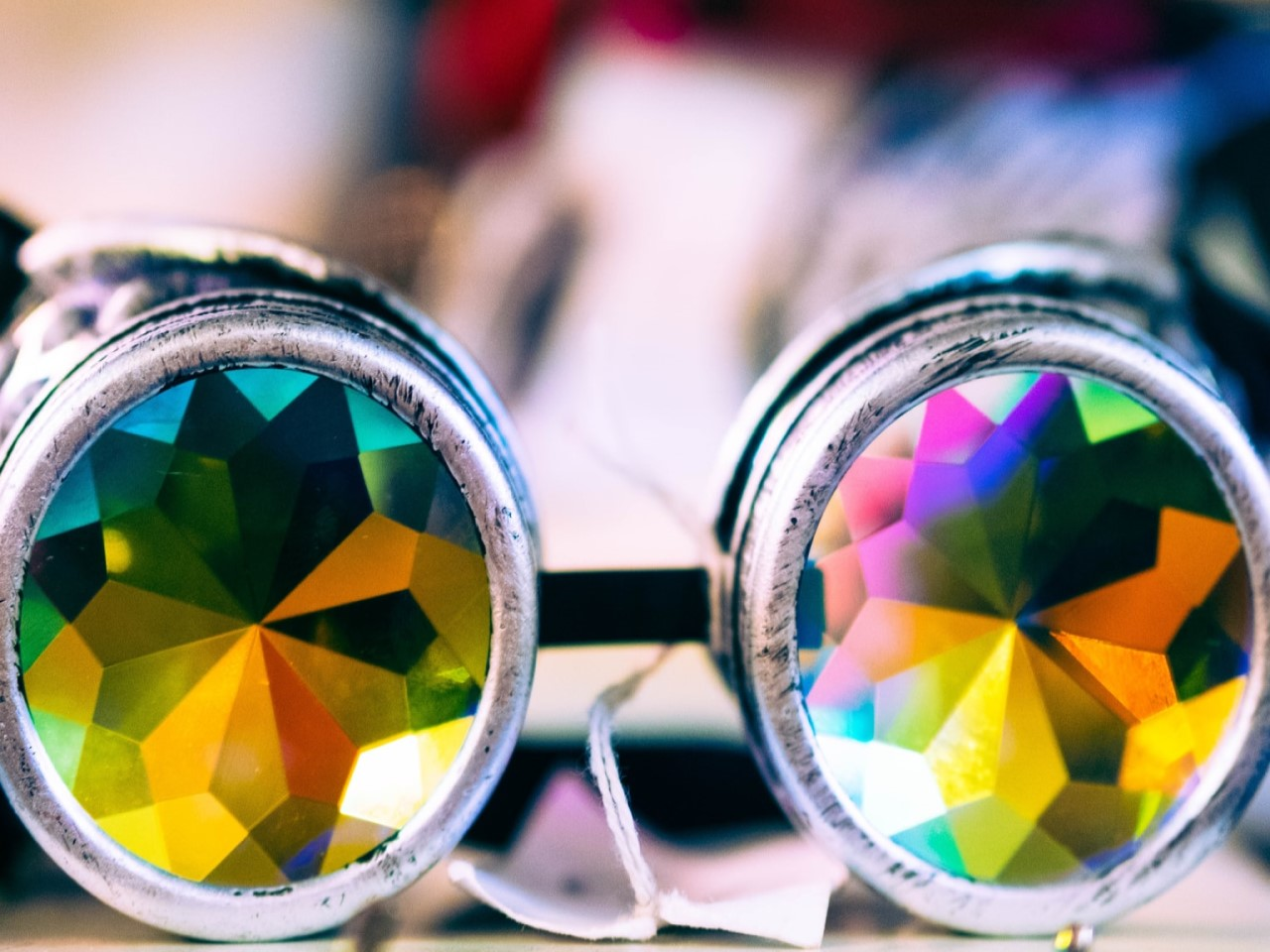A pair of kaleidoscope glasses