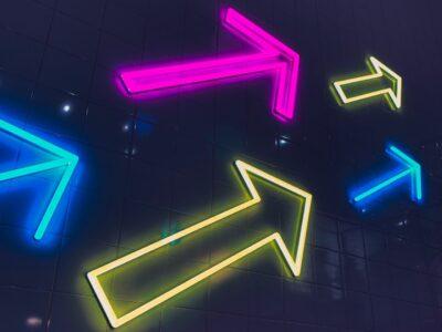 Neon arrows pointing upwards