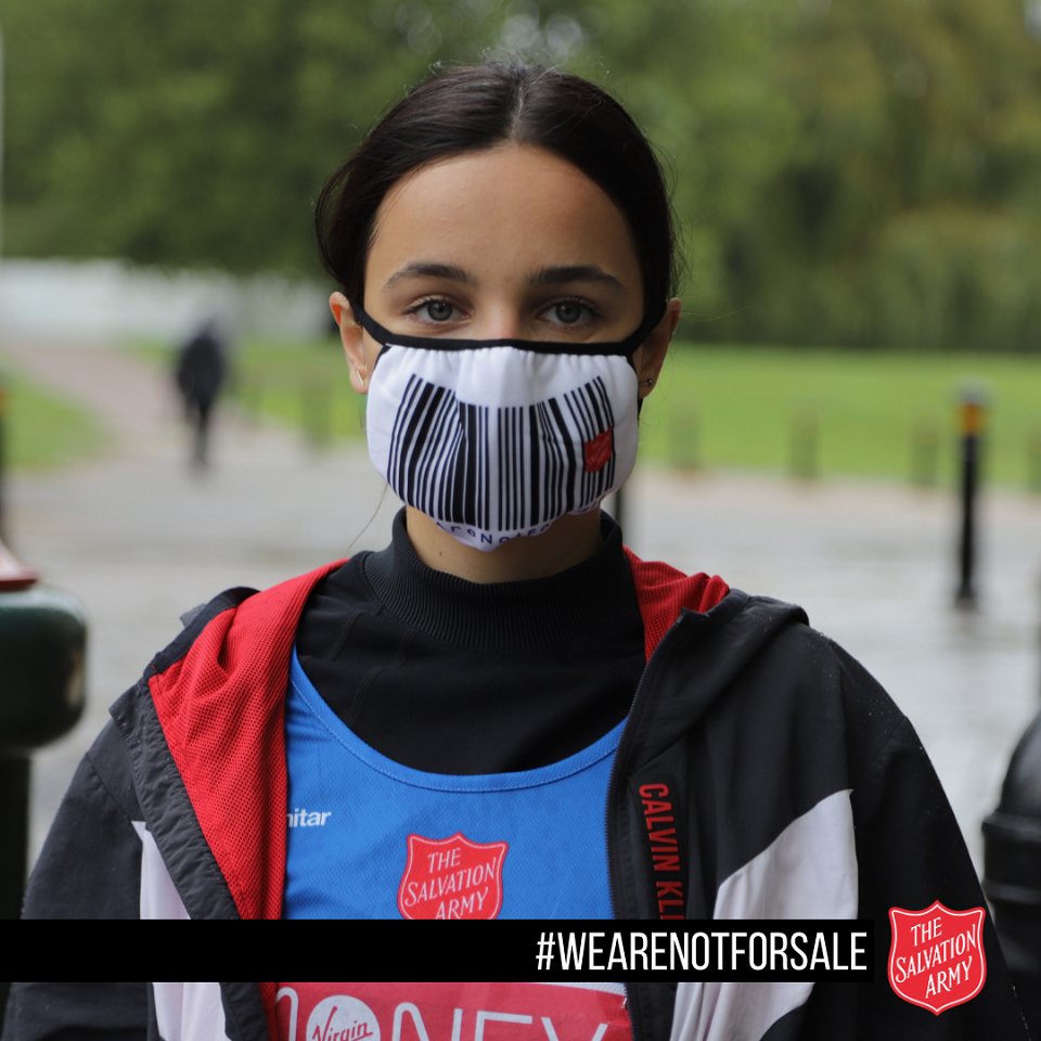 Photo of Ruxandra Porojnicu wearing a face mask. With text #WeAreNotForSale The Salvation Army